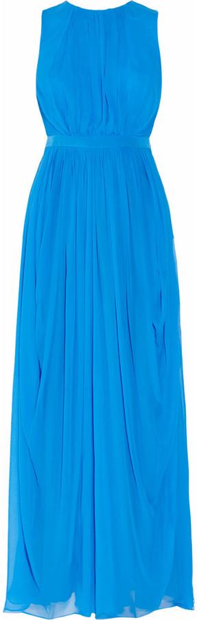 Tibi Draped silk-chiffon gown