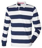 Front Row Mens Striped Sports Rugby Polo Shirt (S) (Navy/White)