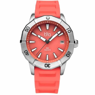 Bia Cordon Blue Women's Rosie Stainless Steel Japanese Quartz Diving Watch with Silicone Strap