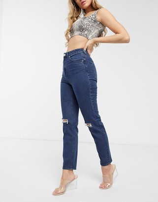 Asos Design DESIGN Farleigh high waisted slim mom jeans with rips in French workwear blue