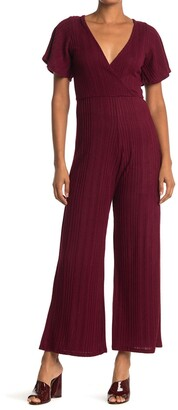 Velvet Torch Ruffle Sleeve Ribbed Knit Sweater Jumpsuit