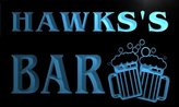 AdvPro Name w003917-b HAWKS Name Home Bar Pub Beer Mugs Cheers Neon Light Sign