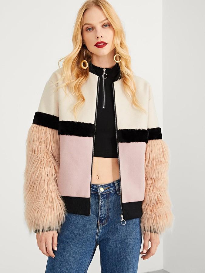 0b2f8cb3c4 Faux Fur Sleeve Coat - ShopStyle