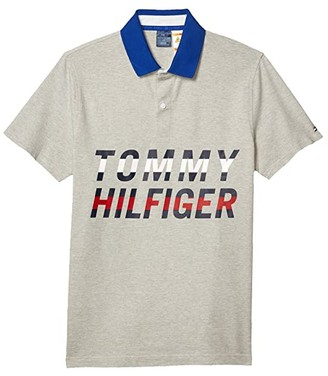 Tommy Hilfiger Adaptive Polo Shirt with Magnetic Buttons Slim Fit (Heather Grey) Men's Clothing