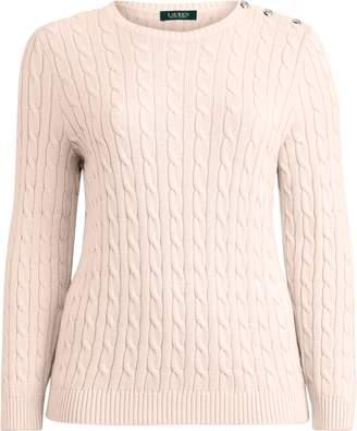 Ralph Lauren Button-Trim Cable Sweater