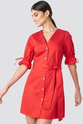 Karl Lagerfeld Paris Milena X NA-KD Deep V-neck Mini Dress Red