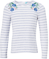 John Lewis Girls' Flower Embroidered T-Shirt, Off White