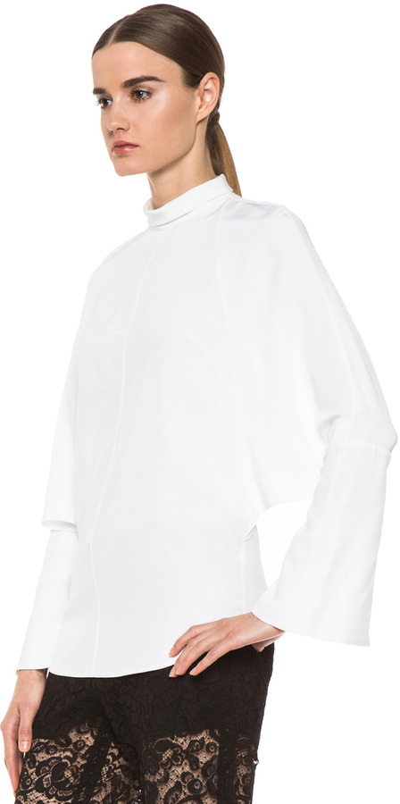 Givenchy Moroccan Open Back Silk Blouse in White