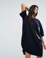 Replay Glitter T-Shirt Dress with Leather Look Pocket