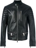 DSQUARED2 zip detail biker jacket - men - Cotton/Leather/Polyester - 50