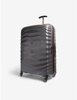 Samsonite Eclipse Grey and Red Stripe Lite Shock Sport Hardshell Spinner Suitcase, Size: 75cm
