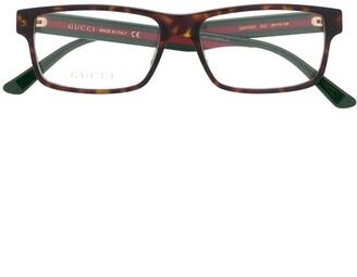 Gucci Web detail rectangular-frame glasses