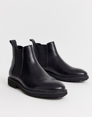 Office chunky chelsea boots in black leather