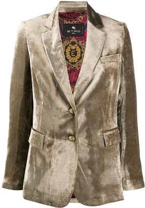 Etro Velvet-Effect Single Breasted Blazer