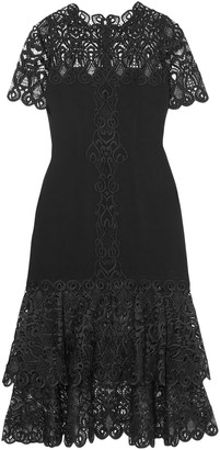 Jonathan Simkhai Tiered Macrame Lace-paneled Cady Midi Dress