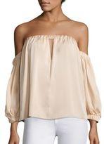 Milly Leslie Off-The-Shoulder Stretch-Silk Top