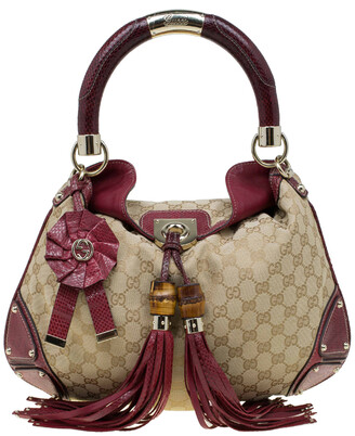 Gucci Beige/Red GG Canvas and Python Medium Indy Top Handle Bag