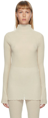 Jil Sander Off-White Pleated Turtleneck