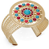 Thalia Sodi Gold-Tone Blue & Red Stone Circle Cuff Bracelet, Only at Macy's