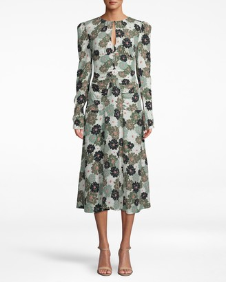 Nicole Miller Camo Delilah Silk Long Sleeve Keyhole Dress