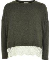 River Island Girls khaki lace hem slouch sweater