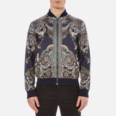 Versace Collection Printed Reversible Bomber Jacket Navy