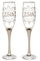 """Evergreen Champagne Flutes """"25th Anniversary"""" - Set of 2"""