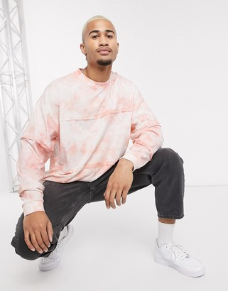 Asos DESIGN oversized long sleeve t-shirt with seam details in peach tie dye
