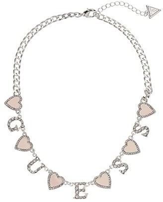 GUESS Chain Necklace with Stationed Pink Enamel Hearts and Logo (Silver/Pink) Necklace