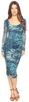 Fuzzi Lace Mosaic Print Long Sleeve Dress Women's Dress