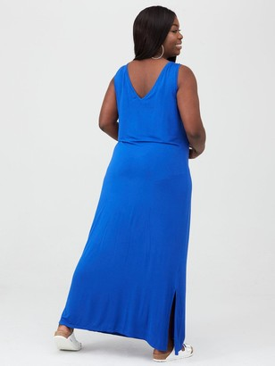 V By Very Curve Side Split Jersey Maxi Dress - Electric Blue