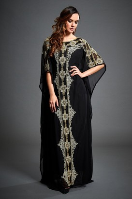 Jywal London GOLD AND STONE EMBELLISHED KAFTAN MAXI DRESS