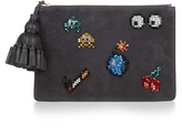 Anya Hindmarch Space Invaders Georgiana suede clutch