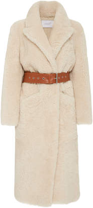 Love, Fire Common Leisure Love Fire Belted Shearling Coat