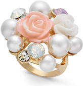 INC International Concepts I.N.C. Gold-Tone Imitation Pearl & Stone Cluster Statement Ring, Created for Macy's