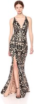Dress the Population Women's Iris Plunging Spaghetti Strap Lace Gown with Slit Dress