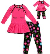 Dollie & Me Pink & Black Floral Leggings Set & Doll Outfit - Girls