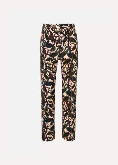 Chloé Printed Cotton-blend Velvet Straight-leg Pants - Brown