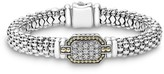 Lagos 18K Gold and Sterling Silver Caviar Rope Bracelet with Diamonds