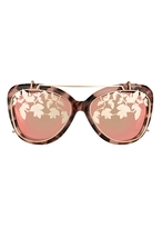 Matthew Williamson Salmon Tortoiseshell Mirrored Cat Eye Sunglasses