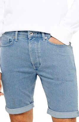 Topman Bleach Skinny Fit Stretch Denim Shorts