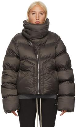 Rick Owens Brown Down Asymmetric Zipper Mountain Coat
