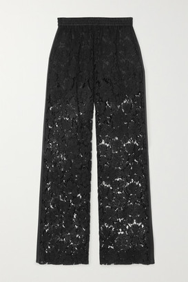 Valentino Satin-trimmed Corded Lace Wide-leg Pants - Black
