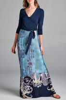Tua Blue-Paisley Faux-Wrap Maxi-Dress