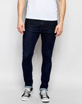 Nudie Jeans Pipe Led Stretch Super Skinny Fit Eclipse Blue Top Overdye