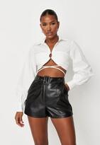 Missguided Black Faux Leather Belt Detail Shorts