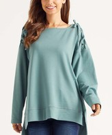 Suzanne Betro Weekend Women's Sweatshirts and Hoodies 101ARCADIA - Arcadia Green Lace-Up Shoulder Square-Neck Tunic - Women & Plus