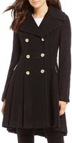 GUESS Wool Notch Collar Double Breasted Fit-And-Flare Walker Coat