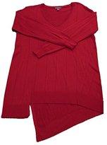 Vince Camuto Women's Long Sleeve V-Neck Asymetrical Hem Drop Needle Sweater