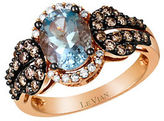 LeVian Chocolatier Baby Blues Vanilla Diamond, Chocolate Diamond, Aquamarine and 14K Rose Gold Ring 0.66 TCW